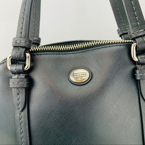 Coach Bags - COACH Cora Domed Peyton Leather Satchel Black